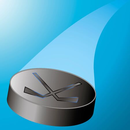 puck: flying hockey puck to the left with a train