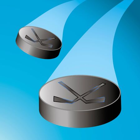 puck: Two flying hockey puck to the left with a train