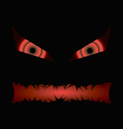 evil face: black halloween evil face with a toothy mouth with bloody eyes