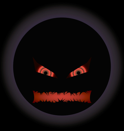 evil face: halloween evil face with a toothy maw with a halo Illustration