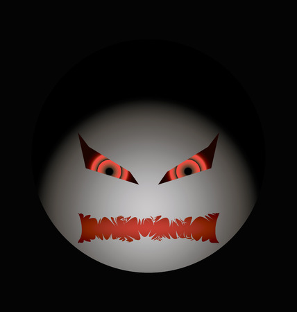 anger abstract: halloween evil face with a toothy maw clarified Illustration