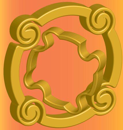flange: Two three-dimensional gold flange on an orange background Illustration