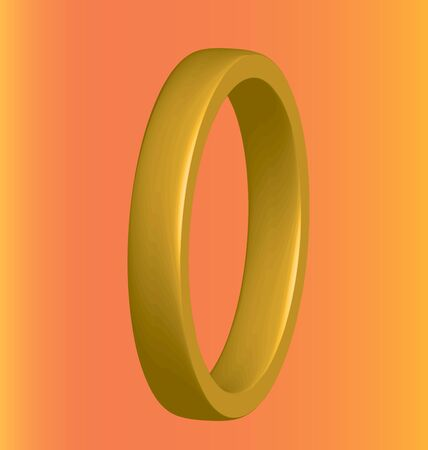 gold ring: three-dimensional gold ring on an orange background