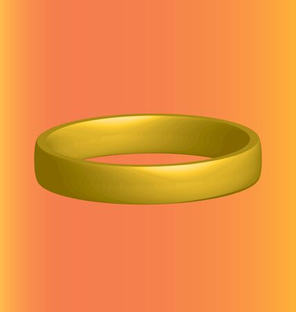 gold ring: three-dimensional gold ring horizontally on an orange background Illustration