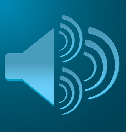 vibration: blue speaker with 3 vibration on a blue background