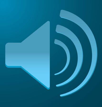 vibration: blue speaker with vibration on a blue background