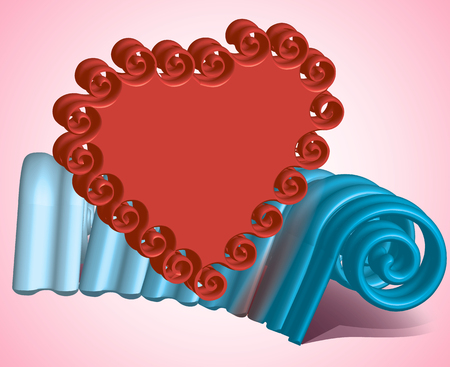 stucco: composition of red heart on a background of blue stucco on a pink background