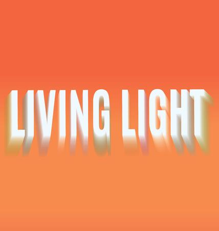 living light blurring the inscription on an orange background