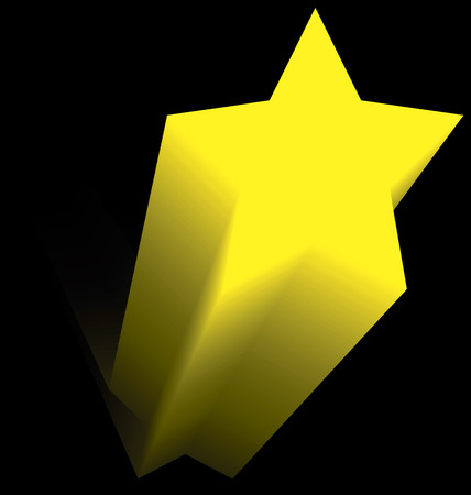 yellow star: yellow star flying up in the dark