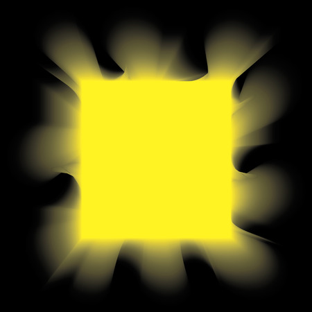 igniting: Yellow smoke square on a black background