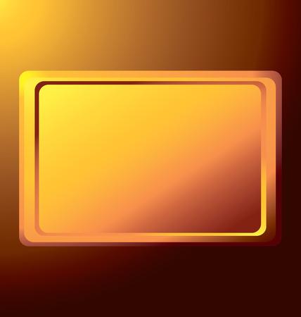 empty the gold rectangular medal against the light Ilustração