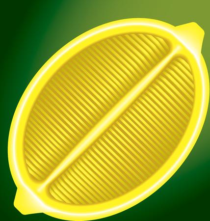 longitudinal: fresh lemon in a longitudinal section on a green background