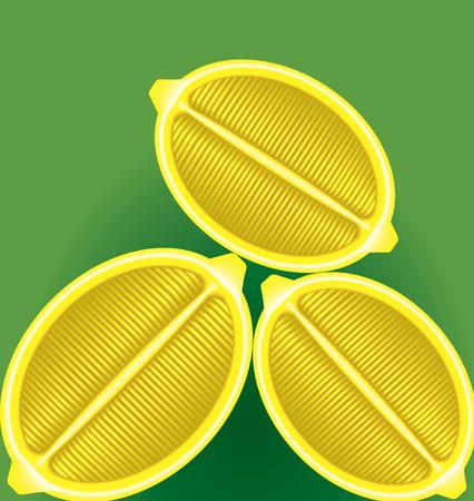 sweet segments: three fresh lemon in a longitudinal section on a green background