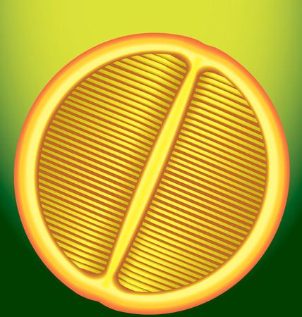 longitudinal: fresh orange in a longitudinal section on a green background