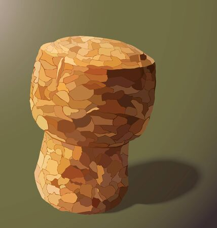 champagne cork: champagne cork is casting a shadow in the right on a yellow background Illustration