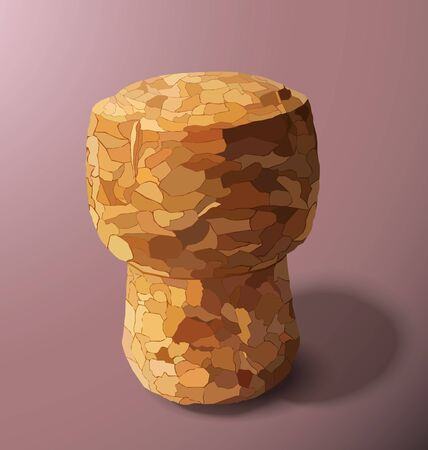 champagne cork: champagne cork is casting a shadow in the right on a pink background Illustration