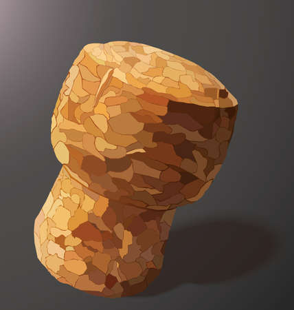 champagne cork: champagne cork is casting a shadow in the right on a gray background