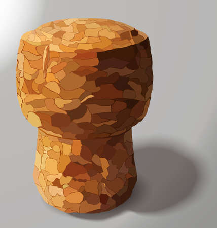 cork: champagne cork is casting a shadow in the right on a white background