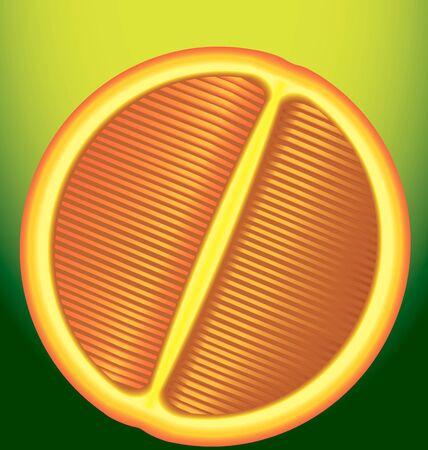 longitudinal: Fresh red orange in longitudinal section on a green background
