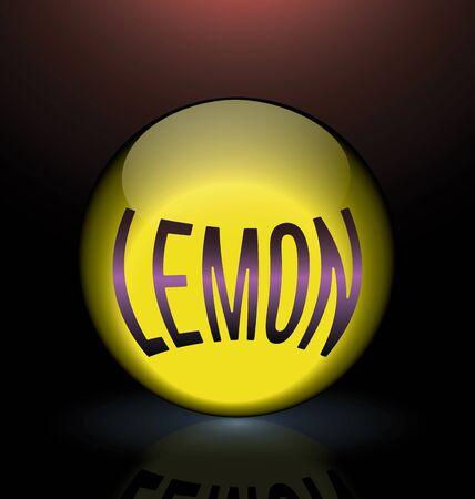 glass sphere: lemon glass sphere purple text logo yellow