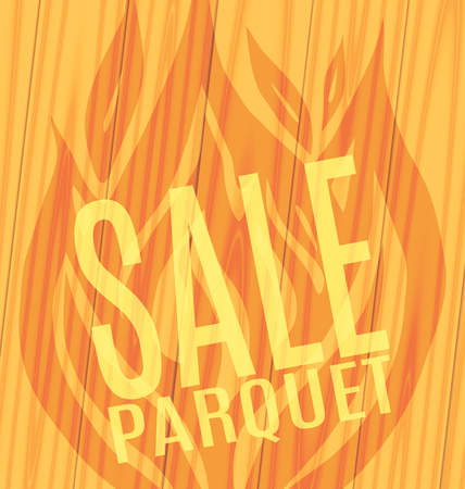 slope: Sale of parquet slope of the fire on wooden boards background Vector illustration