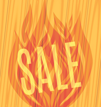 slope: Sale of parquet slope fiery flame on a wooden boards background Vector illustration
