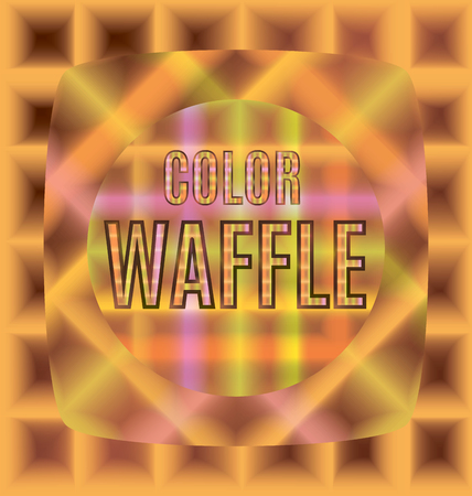 crisp: multicolored waffles sizes different shapes one after the other with the text Illustration
