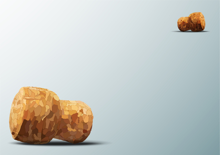 champagne cork: two champagne cork lie on a blue background diagonally