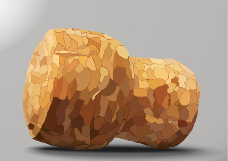 champagne cork: champagne cork on a gray background shadow Illustration