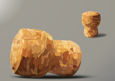 champagne cork: two champagne cork on a gray background, lying and standing Illustration