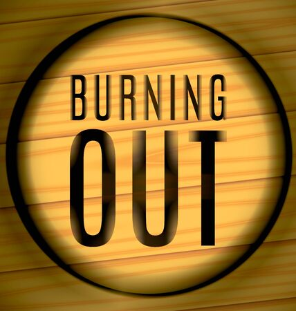 grooves: burning out Text on a wooden texture in the ring Illustration