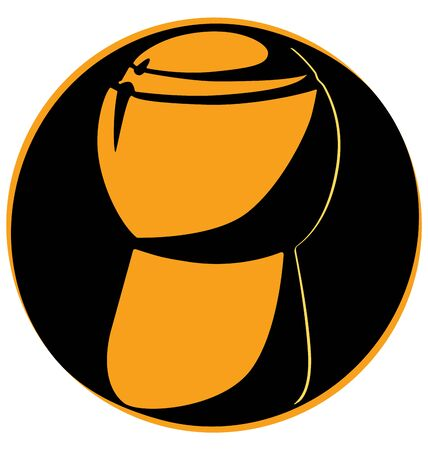 bottle cap opener: Champagne cork upright on a black circle