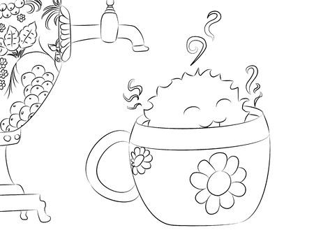 samovar: cartoon monster tea cup samovar for coloring book