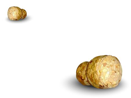 Two champagne corks lying on a white background Stock Photo