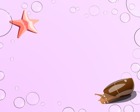 Starfish and snail, bubbles on a pink background