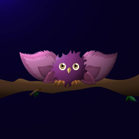 cartoon owl with wide wings, sits on a branch at night Stock Photo