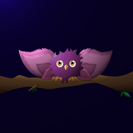 a cartoon owl with wide wings, sits on a branch at night Stock Photo