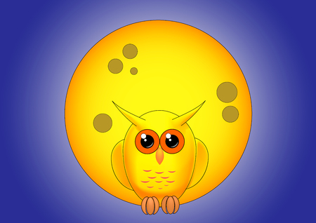 yellow owl against the full moon at night Illustration