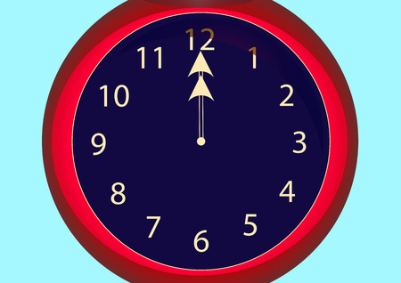 red clock hands for twelve hours Stock Photo