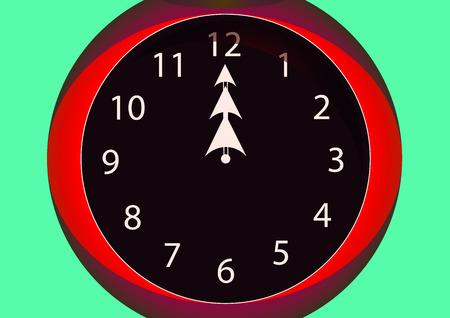 red clock hands for twelve hours Stock Photo