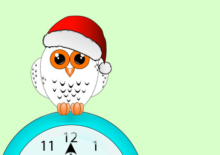 white owl in a red Christmas hat sits on a clock face Stock Photo
