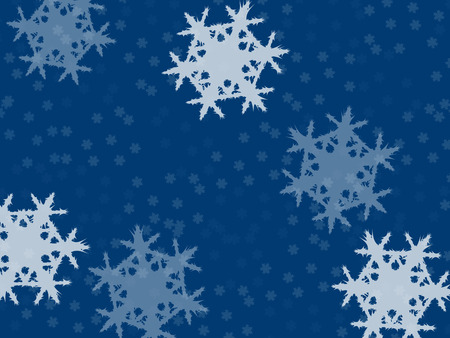 falling snowflakes, small and large on a blue background