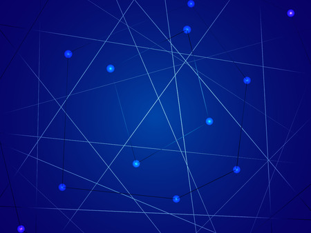 Starry sky map, random schematic bright stars on a blue background