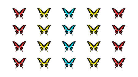 Multicolored butterflies in the form of a matrix on a white background