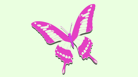 exotic pink butterfly on the album sheet Illustration