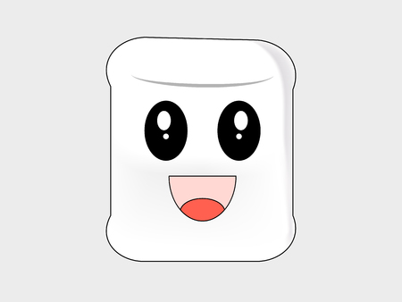 A marshmallow cartoon delighted on a white background