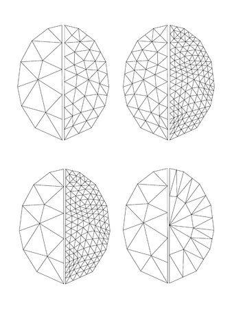 contours for coloring faceted gem on a white background, triangulation