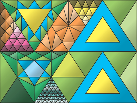 Stained glass window, triangulation, random figures