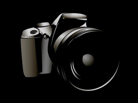 camera, logo white on a black background