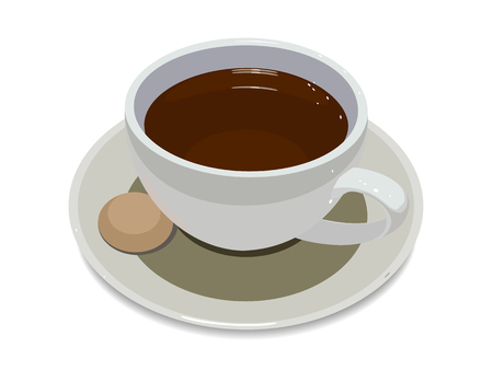 cup of coffee on plate with a cookie on a white background 矢量图像